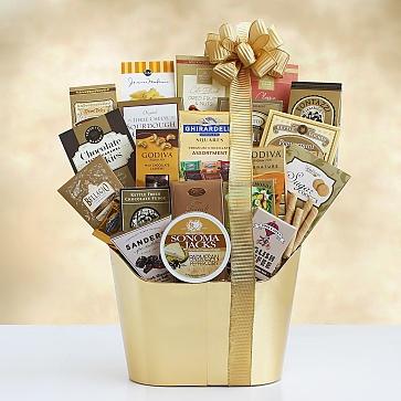Golden Holiday Gourmet Gift Basket