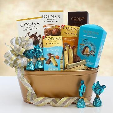 Golden Godiva Gift Tin Basket