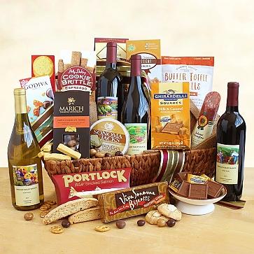 California Splendor Wine and Snack Gift Basket