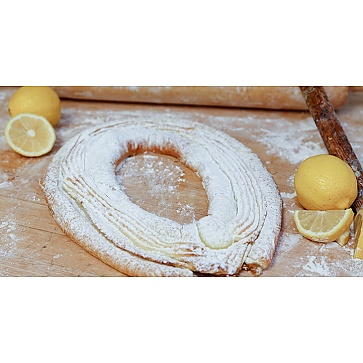 Lane's Bakery Legendary Lemon Cheese Powdered Sugar Kringle
