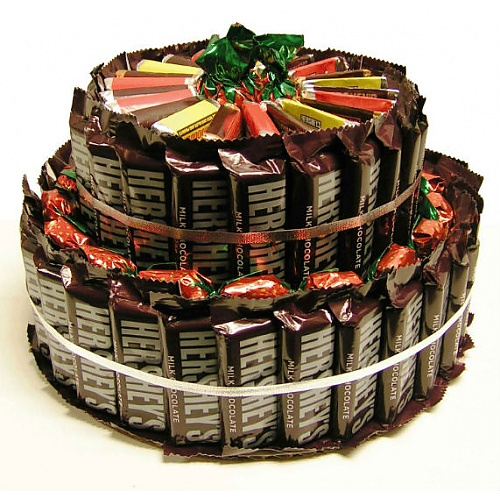 Cake Made From Selection Of Chocolate Bars