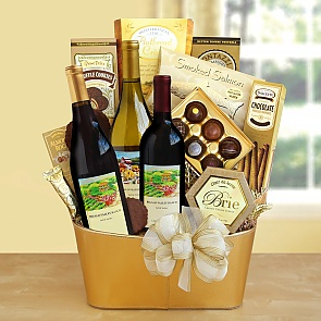 Golden Vineyard Gourmet Wine Gift Basket - Golden Vineyard Gourmet Wine Gift Basket