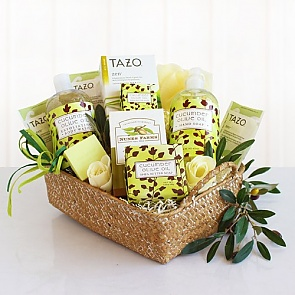 Cucumber and Olive Oil Spa Gift Basket - Spa Gift Baskets for Women