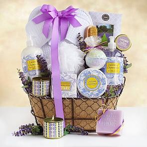 Lavender Spa Getaway Gift Basket - Lavender Spa Getaway Gift Basket