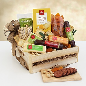 Meat & Cheese Wooden Gift Crate - Meat & Cheese Wooden Gift Crate - Great gift for WFH employees