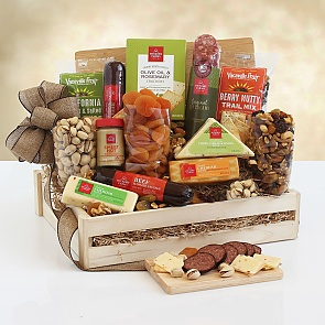 Deluxe Meat & Cheese Wooden Gift Crate - Deluxe Meat & Cheese Wooden Gift Crate - Great gift for Work from Home employees