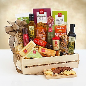 Ultimate Meat & Cheese Wooden Gift Crate - Ultimate Meat & Cheese Wooden Gift Crate - Great gift for WFH employees