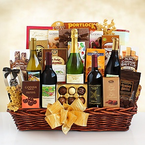 California Grandeur Wine and Gourmet Gift Basket  - California Grandeur Wine and Gourmet Gift Basket