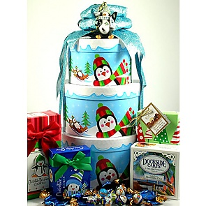 Just Chillin' Penguin Gift Tower - Christmas Gift Towers
