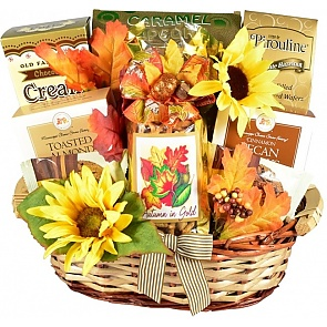 Autumn In Gold Gift Basket - Autumn In Gold Gift Basket #FallGiftBasket