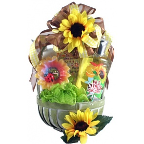 Citrus Sunflower Spa Basket - Spa Gift Baskets for Women