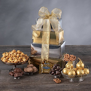 New Year's Gift Tower - New Year's Gift Tower #NewYearGiftBasket